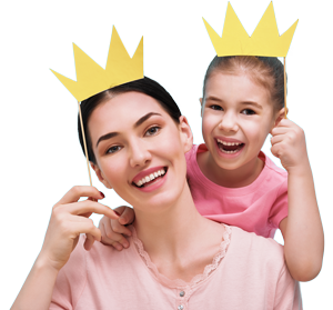 Mom & Daughter Holding Paper Crowns